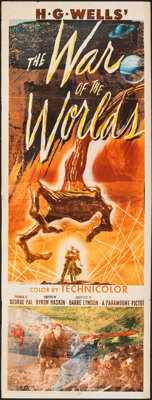 "The War of the Worlds (Paramount, 1953). Folded, Good-. Trimmed Insert (14"" X 36""). Science Fiction"