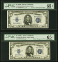 Changeover Pair Fr. 1653/1653 $5 1934C Narrow/1934C Wide Silver Certificates. PMG Gem Uncirculated 65 EPQ