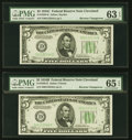 Small Size:Federal Reserve Notes, Reverse Changeover Pair Fr. 1959-D/1958-D $5 1934C/1934B Federal Reserve Notes. PMG Choice Uncirculated 63 EPQ; Gem Uncirculat... (Total: 2 notes)