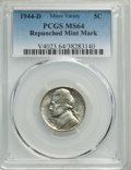 1944-D 5C Repunched Mintmark MS64 PCGS. This lot will also include the following: (2)1944-D 5C Repunched Mintmark M