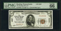 National Bank Notes:Pennsylvania, Reading, PA - $5 1929 Ty. 1 The Reading National Bank & Trust Company Ch. # 4887 PMG Gem Uncirculated 66 EPQ.. ...