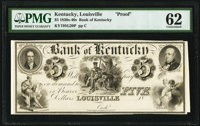 Louisville, KY- Bank of Kentucky $5 18__ G20 Hughes 493 Proof PMG Uncirculated 62
