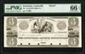 Obsoletes By State:Kentucky, Louisville, KY- Louisville Hotel Company at Louisville Savings Institute $3 18__ Hughes 553 Proof PMG Gem Uncirculated 66 ...