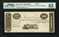 Obsoletes By State:Kentucky, Springfield, KY- Farmers & Mechanics Bank of Springfield $100 18__ UNL Hughes 778 Proof PMG Choice Uncirculated 63.. ...