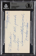 "Autographs:Post Cards, 1951 ""Wahoo"" Sam Crawford Twice-Signed Government Postcard, BAS Mint 9...."