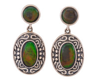 Ammolite Earrings Placenticeras sp. Cretaceous Bearpaw Formation Southern Alberta, Canada 1.08 x 0.51... (Total: 2 Items...
