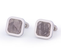 Gibeon Meteorite Cufflinks Iron, IVA Great Nama Land, Namibia - (25° 30'S, 18° 0'E) Found: 1836 0.98 x 0.6... (T...
