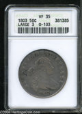 Early Half Dollars: , 1803 50C Large 3 VF35 ANACS....