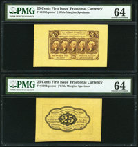 Fr. 1282SP 25¢ First Issue Wide Margin Pair PMG Choice Uncirculated 64