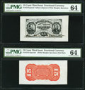 Fractional Currency:Third Issue, Fr. 1273/75SP 15¢ Third Issue Wide Margin Face and Red Back PMG Choice Uncirculated 64.. ... (Total: 2 notes)