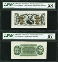 Fractional Currency:Third Issue, Fr. 1331SP/Fr. 1324SP 50¢ Third Issue Spinner Wide Margin Face and Green Back PMG Graded.. ... (Total: 2 notes)