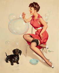 Gil Elvgren (American, 1914-1980) Neat Trick, 1953 Oil on canvas 30.5 x 24 in. Signed lower ri