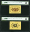 Fr. 1231sp 5¢ First Issue Wide Margin Pair PMG Choice Uncirculated 63. ... (Total: 2)