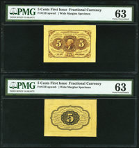 Fr. 1231sp 5¢ First Issue Wide Margin Pair PMG Choice Uncirculated 63