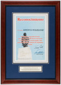 Autographs:Others, 2001 President Jimmy Carter & Fidel Castro Dual-Signed & Framed Proclamation....