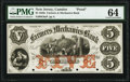 Camden, NJ- Farmers and Mechanics Bank $5 18__ as G8a Proof PMG Choice Uncirculated 64