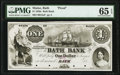 Obsoletes By State:Maine, Bath, ME- Bath Bank $1 18__ as G2a Wait 3 Proof PMG Gem Uncirculated 65 EPQ.. ...