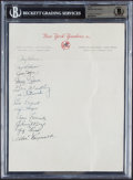Baseball Collectibles:Others, 1950 New York Yankees Partial Team Signed Sheet, Beckett Authentic....