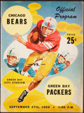 Football Collectibles:Programs, 1959 Packers vs. Bears Program - Vince Lombardi's NFL Debut & 1st Career Win....
