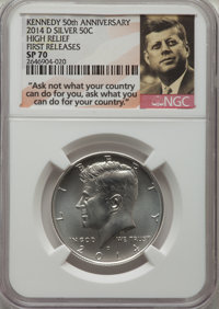 2014-D 50C High Relief, Silver, 50th Anniversary, First Release SP70 NGC. This lot will also include the following: 2014...