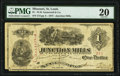 Obsoletes By State:Missouri, St. Louis, MO- Junction Mills at W.H. Gumersell & Co. $1 May ?, 1875 PMG Very Fine 20.. ...