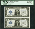 Small Size:Silver Certificates, Low Serial Numbers Fr. 1600 $1 1928 Silver Certificates Uncut Pair PCGS Very Choice New 64PPQ.. ...