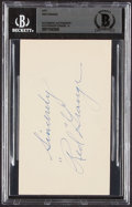 Autographs:Post Cards, 1951 Red Grange Signed Government Postcard, BAS Mint 9. ...