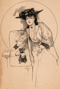 Original Comic Art:Illustrations, Gordon Hope Grant Woman with Pug Dog Original Illustration (c. 1900s)....