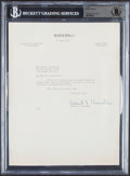 """Baseball Collectibles:Others, 1951 Albert """"Happy"""" Chandler Signed Letter, Beckett Authentic...."""