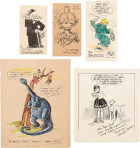 Milton Caniff, Clifford Sterrett, Frederick Opper, Mal Eaton, and Others Original Autographed Sketches/Notes (1930s-40s)...