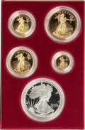 Modern Bullion Coins, 1995-W SET Five-Piece 10th Anniversary Silver Eagle and Gold Proof Set, Uncertified.... (Total: 5 coins)