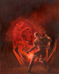 "James Bama Doc Savage #25 ""The Devil's Playground"" Paperback Novel Cover Painting Original Art (Bantam, 1968)..."