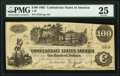 """Confederate Notes:1862 Issues, Manuscript Endorsement """"Bartlett W. Brown"""" Issued at Beaumont, TX T39 $100 1862 PF-5 Cr. 291. PCGS Very Fine 25.. ..."""