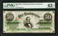 Confederate Notes:1863 Issues, T57 $50 1863 PF-1 Cr. 406 PMG Choice Uncirculated 63 EPQ.. ...