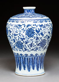 A Chinese Blue and White Porcelain Meiping Vase, 18th century 13 inches (33.0 cm)
