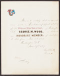Autographs:Letters, 1867 Ulysses Base Ball Club Honorary Membership Certificate with Letter - Team Named After Pres. Grant....