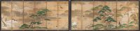 Japanese School (19th/20th Century) Four Seasons, Meiji Period Pair of six-panel screens, ink, color