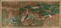 Works on Paper, Japanese School (19th/20th Century). Cranes and Pines, late Meiji Period-early Taisho Period. Six-panel screen, ink, col...