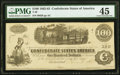 """Confederate Notes:1862 Issues, Manuscript Endorsement """"Martin Walt"""" T40 $100 1862 PF-20 Cr. 308 PMG Choice Extremely Fine 45.. ..."""