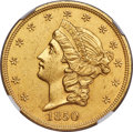 Liberty Double Eagles, 1850 $20 -- Cleaned -- NGC Details. Unc....