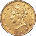 Liberty Eagles, 1839/8 $10 Large Letters, Head of 1838 -- Reverse Cleaned -- NGC Details. AU....