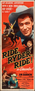 "Movie Posters:Western, Ride, Ryder, Ride! & Other Lot (Eagle Lion, 1949). Folded, Overall: Fine/Very Fine. Inserts (2) (14"" X 36""). Western.. ... (Total: 2 Items)"