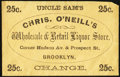 Chris. O'Neill's Wholesale & Retail Liquor Store Brooklyn 25 c. PE557. About New