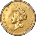 Gold Dollars, 1855-D G$1 -- Repaired, Cleaned -- NGC Details. AU. Variety 7-J. ...