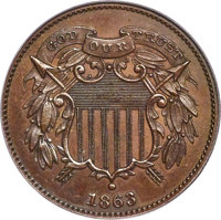 1863 2C Two Cents, Judd-312, Pollock-377, R.4, PR64 Brown PCGS. CAC....(PCGS# 60467)