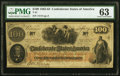 """Confederate Notes:1862 Issues, Manuscript Endorsement """"James G.M. Ramsey"""" T41 $100 1862 PF-11 Cr. 319A PMG Choice Uncirculated 63.. ..."""