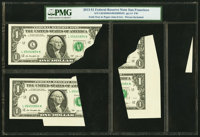 Foldover and Paper Jam Error - Pieces Included Fr. 3001-L $1 2013 Federal Reserve Notes; Bookends Fr. 3001-L $1... (Tota...
