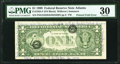 Printed Fold Error with Two Different Serial Numbers Fr. 1925-F $1 1999 Federal Reserve Note. PMG Very Fine 30