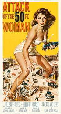 """Attack of the 50 Foot Woman (Allied Artists, 1958). Very Fine+ on Linen. Three Sheet (41.5"""" X 78.5""""). Reynold..."""