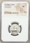 Ancients: CALABRIA. Tarentum. Ca. 332-302 BC. AR stater or didrachm (22mm, 8h). NGC VF